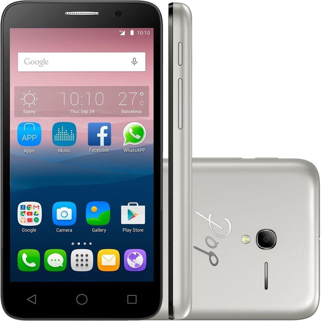 Smartphone Desbloqueado Alcatel One Touch Pop 3 - Câmera Traseira e Frontal de 8mp - Dual Chip -internet 3g - Wi-fi - Preto / Prata 5016